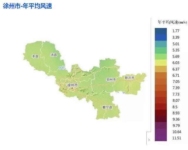 江苏省及各市风资源分布图